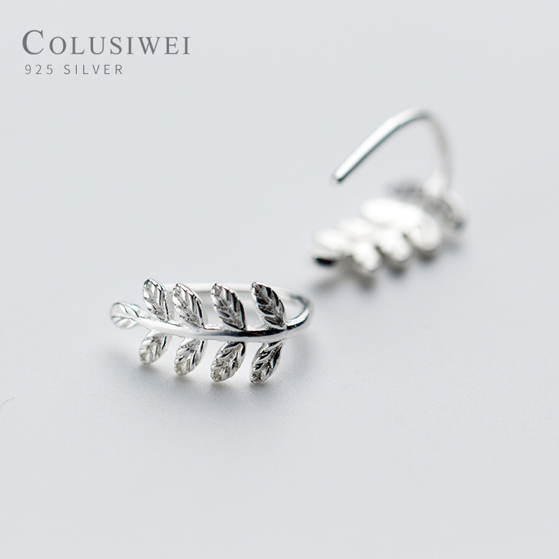 Colusiwei High Quality 100% 925 Sterling Silver Simple Tree Leaves Ears Clip For Women Vintage Sterling Silver Jewelry Gift