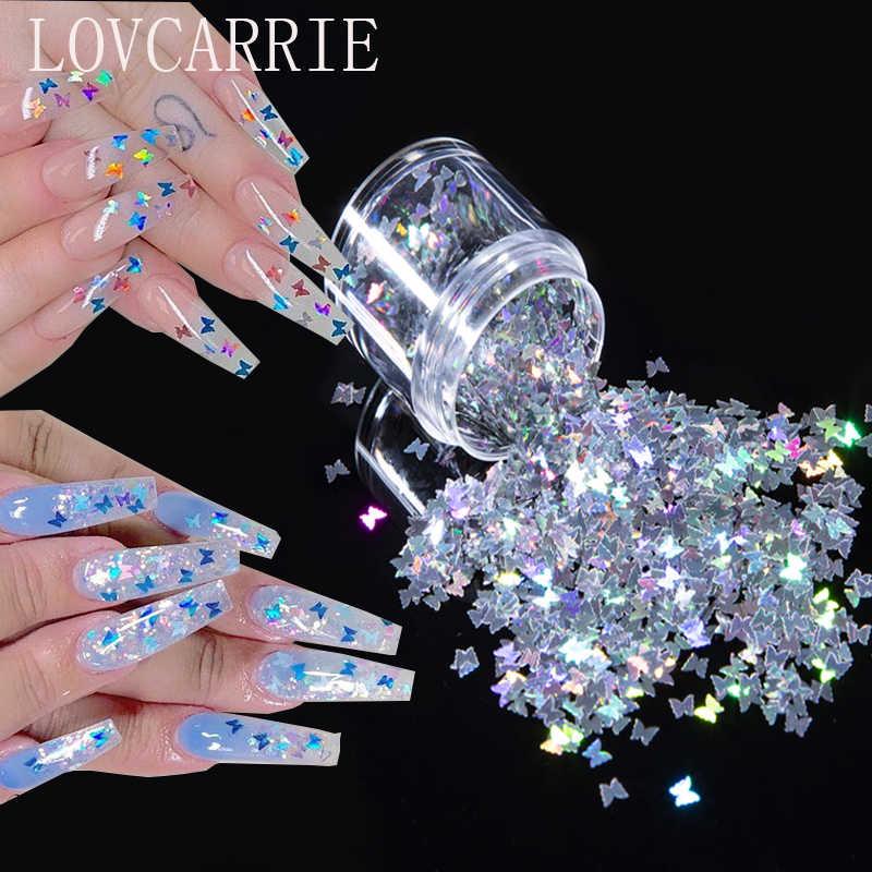 Lantejoulas holográficas para unhas, suprimentos para decoração artística em unhas, com floco, glitter em pó e borboleta