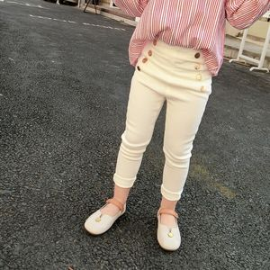 Image 5 - 2020 Girl Pants Autumn Winter Kids Clothes solid children pants for baby Girls Trousers toddlers white black button fashion