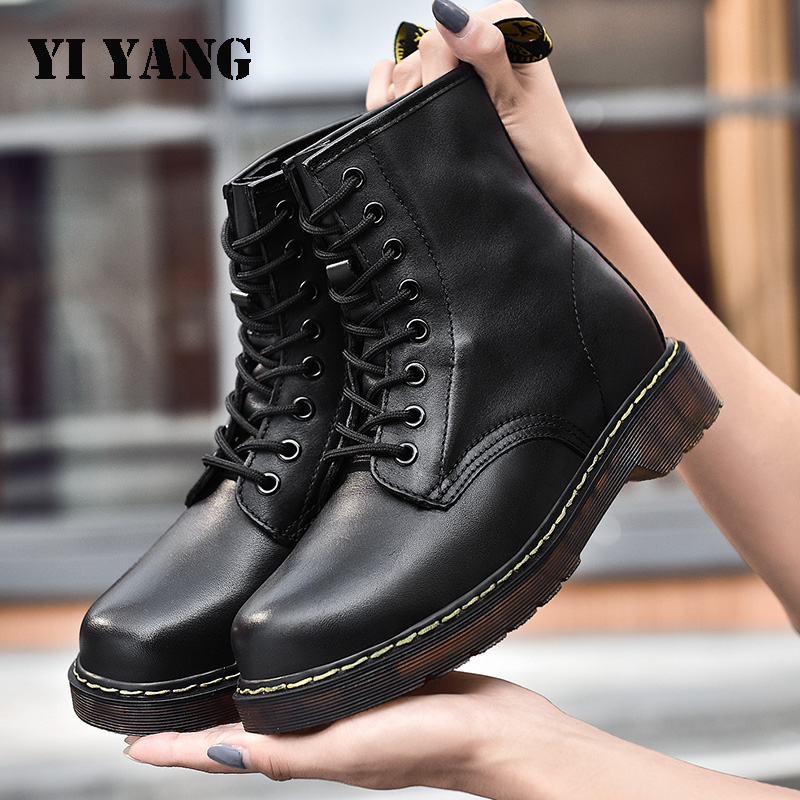 Boots Women Genuine Leather Shoes Ankle Boots for Woman Fashion Dr. Martin Flat Platform Boots Female Shoes Zapatos De Mujer