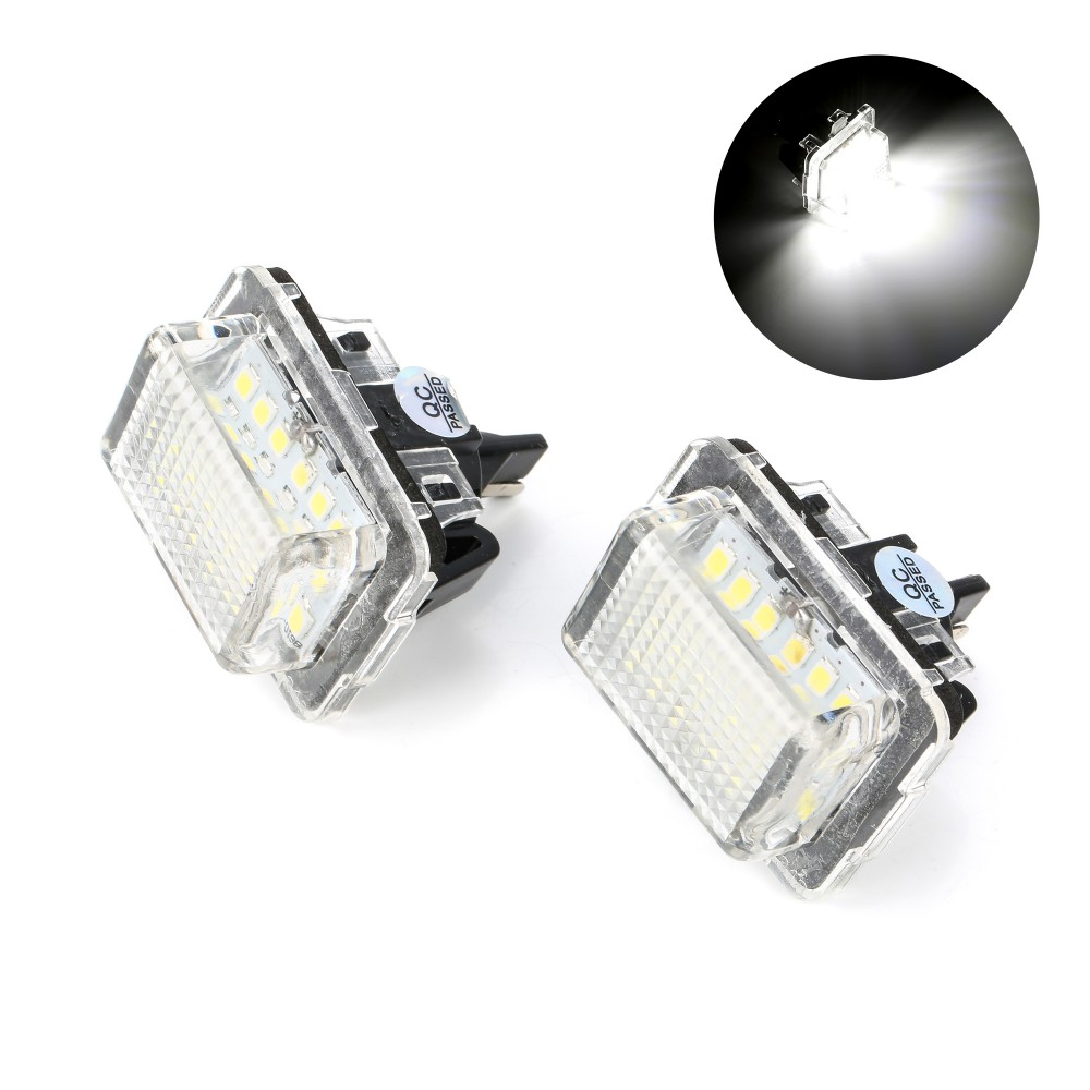 2Pcs Canbus Error Free SMD LED Number License Plate <font><b>Light</b></font> Kit White for Mercedes <font><b>Benz</b></font> W204 W212 C207 C216 <font><b>W221</b></font> image