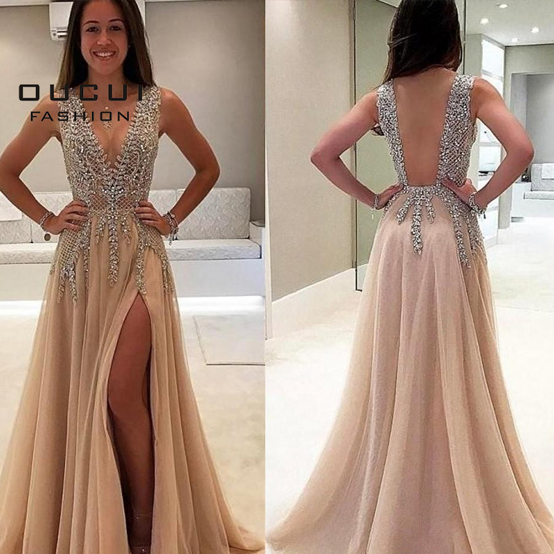 Oucui Deep V Neck Long Evening Dress Handmade Beaded Sexy Gowns Formal Tulle Prom A Line Plus Size Vestidos De Fiesta OL103544
