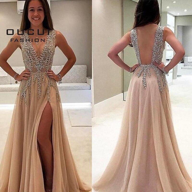 Oucui Deep V Neck Long Evening Dress Handmade Beaded Sexy Gowns Formal Tulle Prom A Line Plus Size Vestidos De Fiesta OL103544