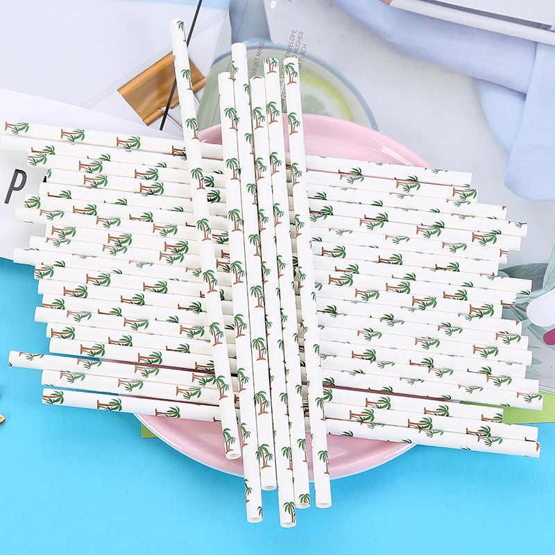 25Pcs/Tas Kertas Minum Sedotan Halloween Natal Baby Shower Dekorasi Rumah Hadiah Perlengkapan Acara Pesta Coco Kaktus