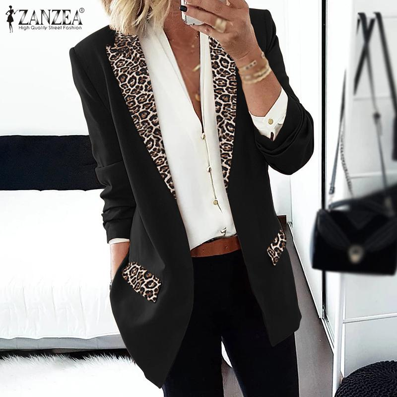 ZANZEA Women's Blazers 2020 Spring Ladies Patchwork Leopard Lapel Collar Blazers Long Sleeve Thicken Coats Work Jackets Outwear