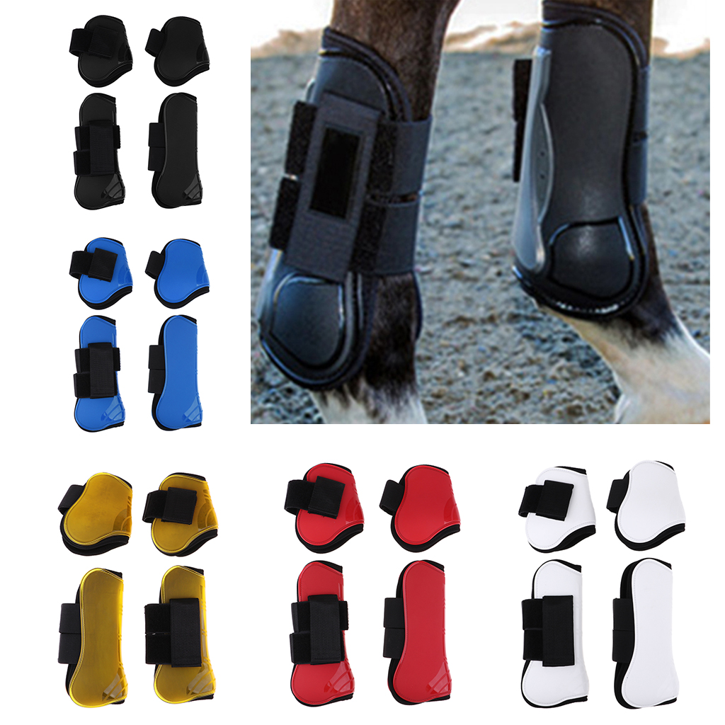 Set of 4 Horse Leg Care Neoprene Jumping Boots, Tendon & Fetlock Boots Set - Breathable, Lightweight & Impact -5 Colors