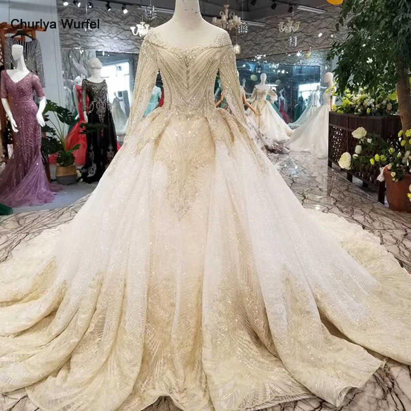 LSS088 luxury dubai glitter wedding gowns o-neck long sleeve shiny lace flowers wedding dresses long train latest new design