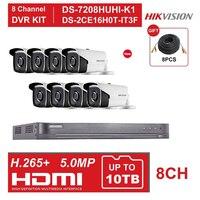 HIK 8CH DVR KIT Hybrid 8 Channel Video Surveillance Recorder DS 7208HUHI K1 5MP Bullet Security Analog Camera DS 2CE16H0T IT3F