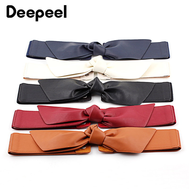 Deepeel 1pc 6*72cm Women's High Waist Elastic Cummerbunds High Quality PU Bow Decorative Girdle Elegant Apparel AccessoriesCB615