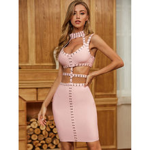 Bandage Dress Rivet Summer Sexy Pink Party Dresses for Women Boho Bodycon Clothing
