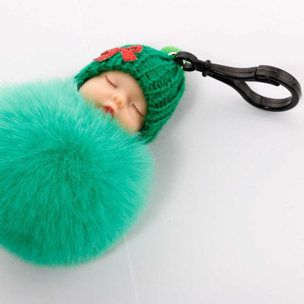 Bonito do Sono Do Bebê Pele Macia Boneca de Pelúcia Pingente de chave da cadeia de Anel Chave Chaveiro Bolsa Decoração de Natal