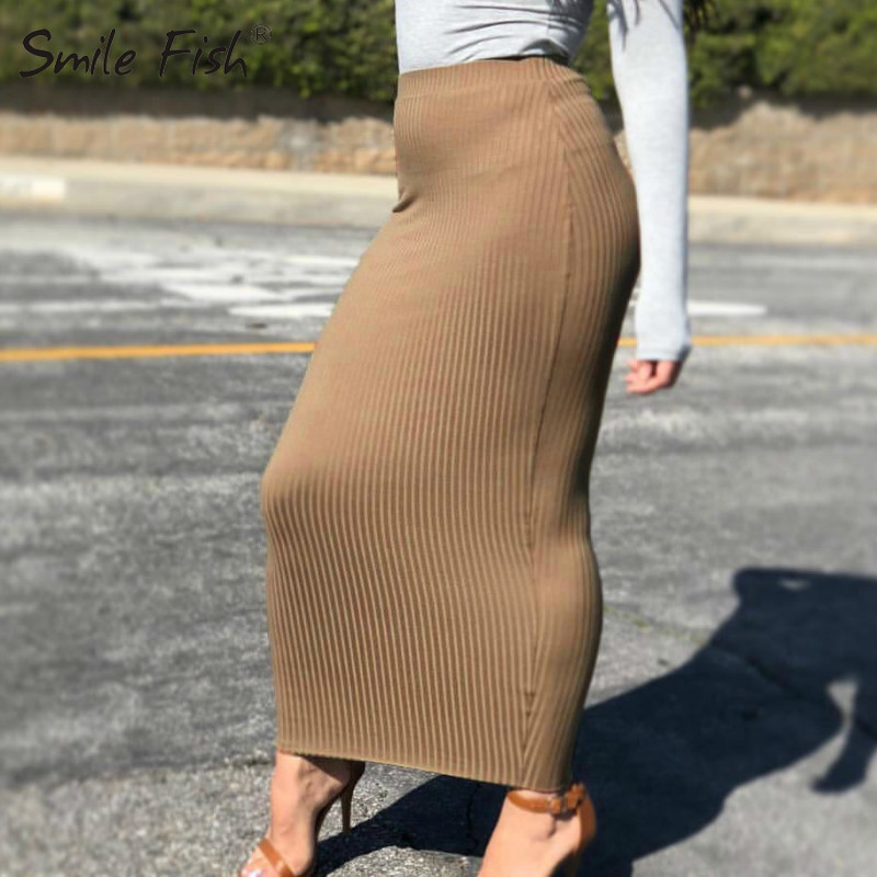 Winter Autumn Women Pencil Skirt Solid Knit Cotton Long Skirt Elegant Office Chic Bodycon Streetwear Sheath Skirts Casual GV796 image