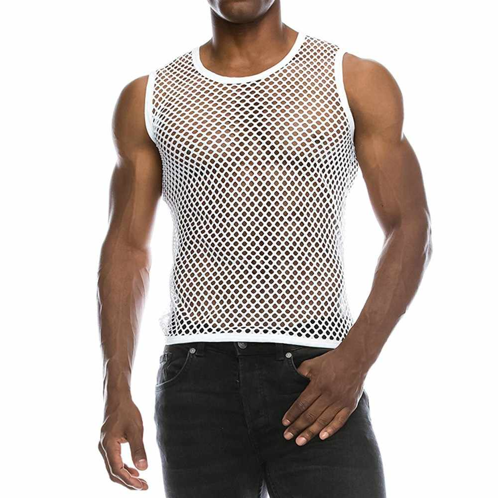 Sexy Mannen Mouwloze Mesh Sheer Tank Vest Tops Uitloper Gym Training Tank Vest Vis Netto Hollow Out See Through Sporting kleding