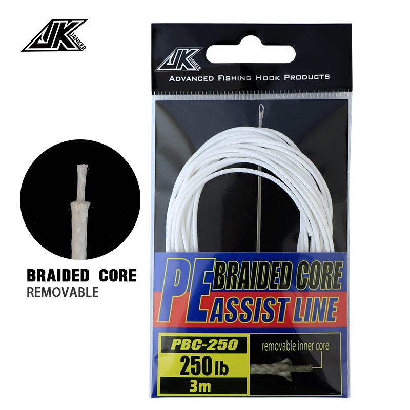 JK Braided Core PE Assist Line 100 200 250 300 400 LB Japanese Imports PE Line For Assist Hook Sea Braided Fishing Line Leader