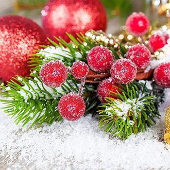 40 sztuk Mini sztuczne jagody żywe czerwone jagody Holly matowe sztuczne owoce stół dekoracyjny wieniec ślub świąteczne dekoracje tanie i dobre opinie CN (pochodzenie) Iron Foam Artificial Frosted Berries