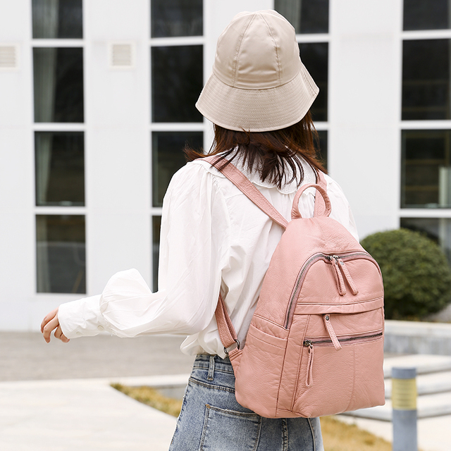 السيدات على ظهره 2020 جديد سعة كبيرة لينة بولي Leather جلد الشباب طالب حقيبة مدرسية موضة حقيبة السفر الأسود الرئيسي 3