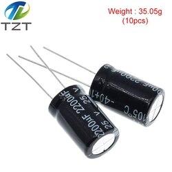 Capacitor eletrolítico de alumínio 2200 uf 25 v 10*20mm frekuensi tinggi kapasitor eletrolítico radial