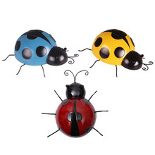 3 Colors Mini Metal Ladybird Home Decor Kids Toys DIY Ladybug - Best Indoor Outdoor Decorations for Patio Yard Office and House(China)