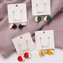 Небольшой шарик, игла, геометрические серьги для женщин, круглые серьги, Висячие современные ювелирные изделия