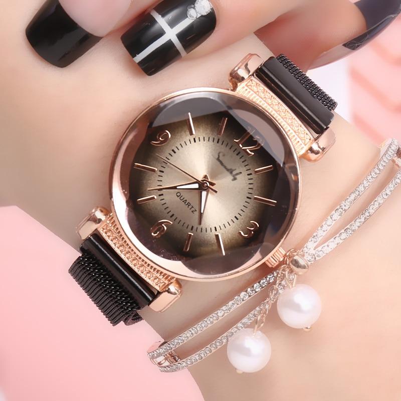Luxury Fashion Ladies Geometric Roman Numeral Quartz Watch Women Magnet Buckle Mesh Strap Wrist Watch