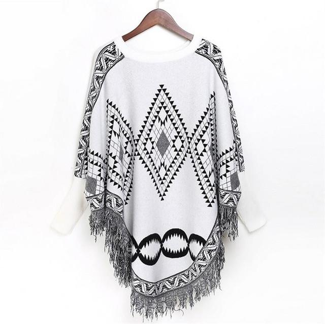 Autumn Sweater Women  Sexy Knit Cloak Ladies Europe America Street Style Shawl Sweater 2