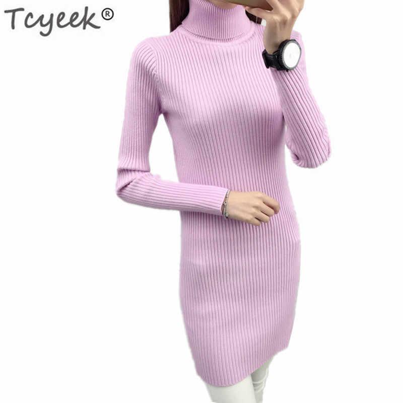 Invierno jersey de cuello alto moda Otoño suéter largo Mujer señoras ropa primavera tapas Sueter Mujer LWL844