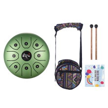 US IN STOCK 5.5 Inch C Key Tongue Drum Mini 8-Tone Steel Hand Pan Drum Percussion Instrument with Drum Mallets Carry Bag