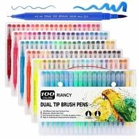Doble punta arte marcadores 12/24/48/100 colores acuarela pincel juego de rotuladores doble punta pincel fineliner pluma pintura papelería