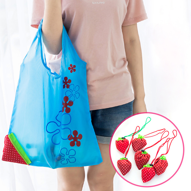 Creative strawberry shopping bag home portable folding handbag environmentally friendly storage