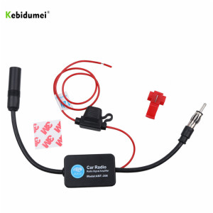 kebidumei 12V Car Radio Antenna FM/AM Radio Signal Amplifier Booster Car Antenna Aerials 80-108MHZ For Marine Boat Auto