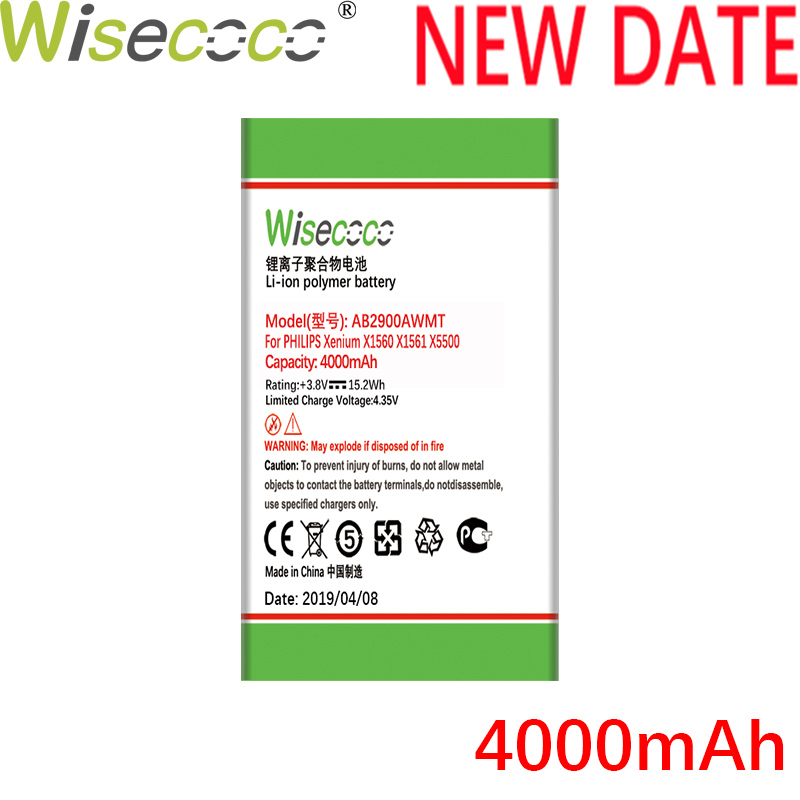WISECOCO 4000mAh AB2900AWMT AB2900AWMC Battery For <font><b>PHILIPS</b></font> Xenium <font><b>X1560</b></font> X1561 X5500 CTX1560 CTX1561 CTX5500 With Tracking Number image