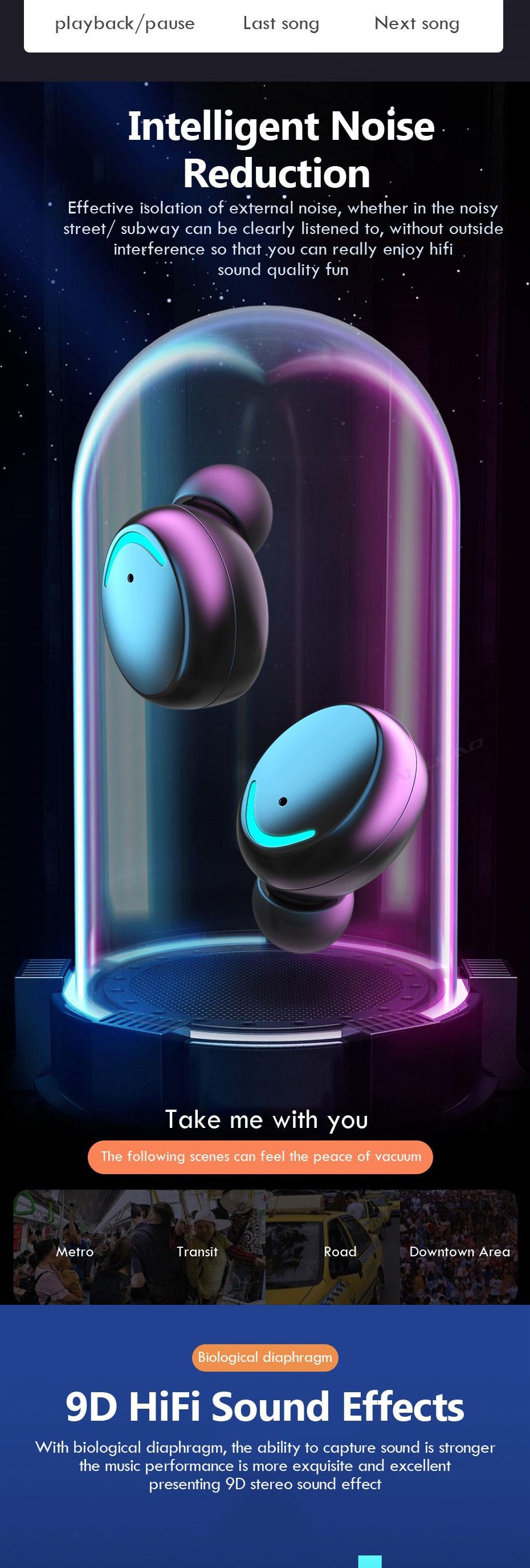 High Quality F9 TWS Wireless Earbuds