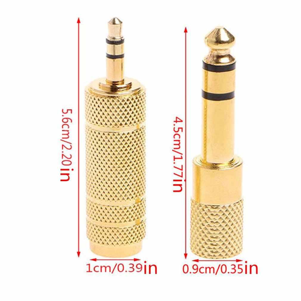 """6.35 مللي متر جاك كابل ستيريو الذهب 6.5 مللي متر 1/4 """"ذكر إلى 3.5 مللي متر محول الصوت الإناث محول ل سماعة ميكروفون"""