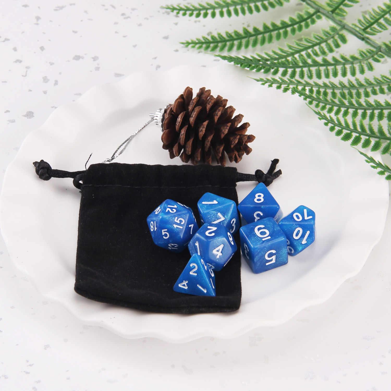 7PCS Estilo Variado Número de Dados Poliédricos Jogo Dice Set com Bolsa De Armazenamento para Tabela Do Partido de Dungeons Dragons Dados de Poker brinquedo do jogo