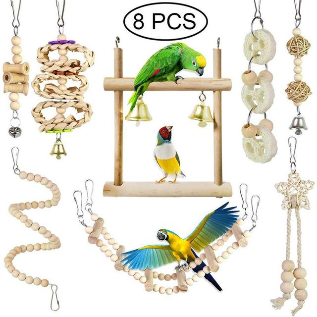 8pcs set Wooden Parrot Chewing Toy -Swing -Soft Ladder- Wooden Bead- Spiral Staircase 1