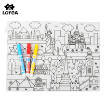LOFCA 1pc Baby Silicone Placemat Waterproof Tableware BPA Free Silicone Baby Feeding washable Placemat kids Coloring Placemat