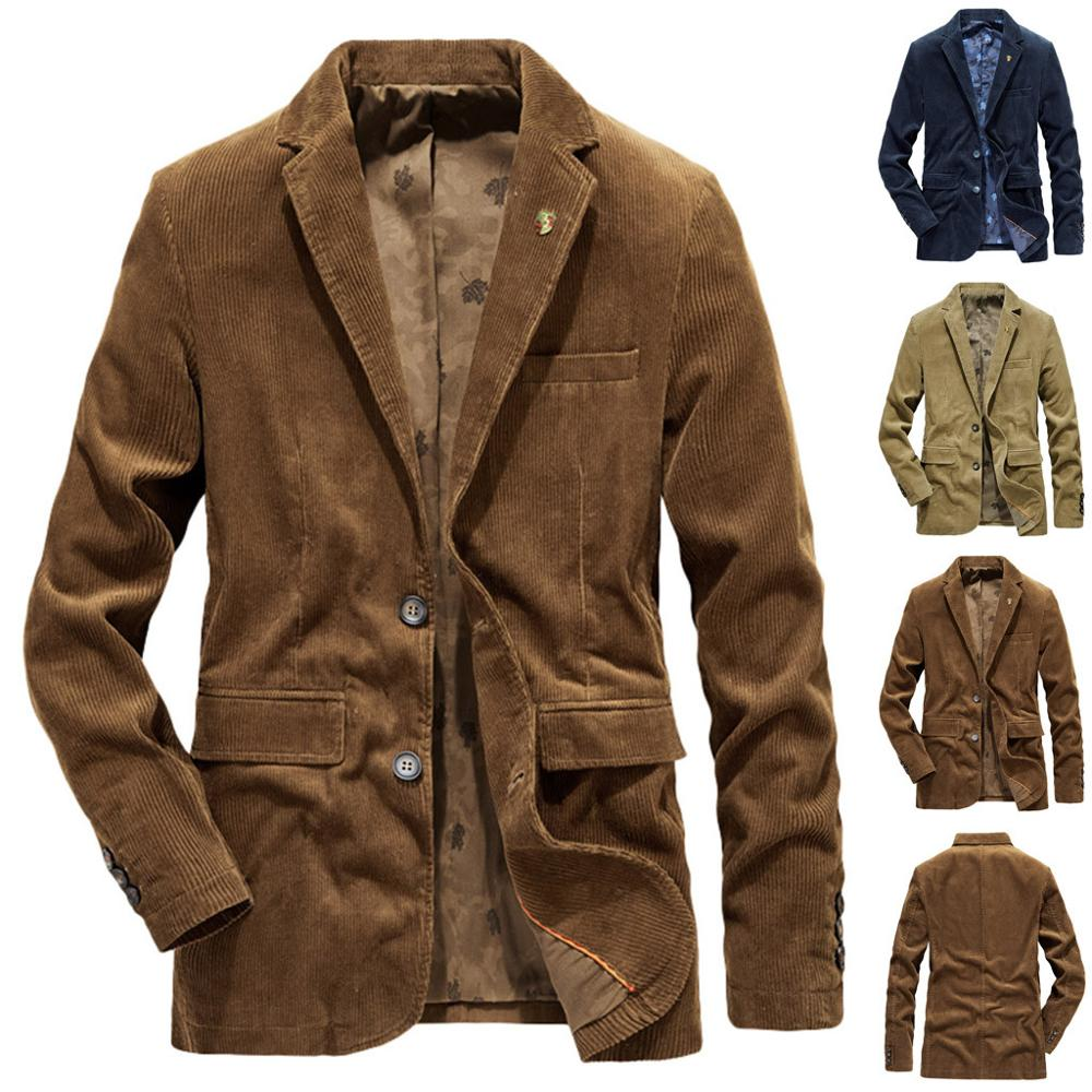 Fashion Corduroy Blazer For Men Autumn Winter Casual Warm Thicken Outwear Jacket Coat Masculino Slim Blazers M-4XL