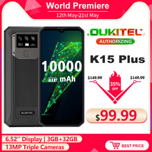 OUKITEL K15 Plus 6.52'' 10000mAh Smartphone 3GB+32GB Quad Core Android 10.0 Face ID Unlock 13MP Triple Cameras Mobile Phone NFC