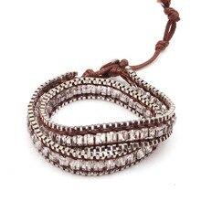 TOTABC Fashion Adjustable Crystal Bracelet Bilezik Cuff Opening Bracelet for Women wrap armband natuursteen Jewelry Gift retro faux crystal leaf cuff bracelet for women