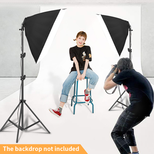 Image 5 - Photography Lighting 50x70CM Four Lamp Softbox Kit E27 Holder With 8pcs Bulb Soft Box Accessories For Photo Studio Video