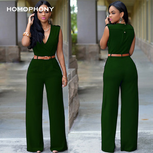 Image 5 - HOMOPHONY Women High Waist Jumpsuit Office Ladies Elegant Party Solid V neck Playsuit Summer Sleeveless Evening Party Jumpsuit