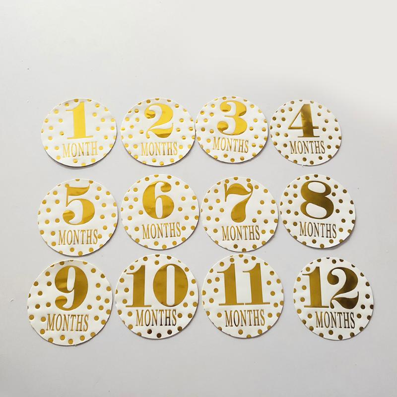 1-12 Months Golden Baby Stickers Pregnant Monthly Milestone Decals Newborn Memory Photograph Props Round Decoration