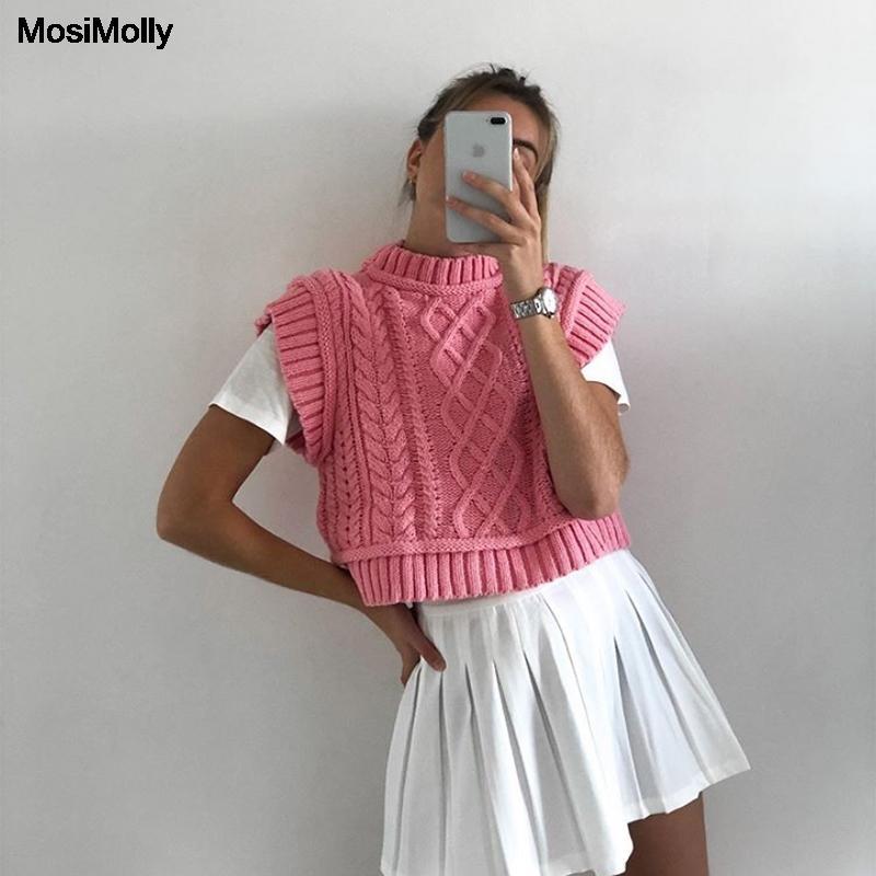 MosiMolly красивый розовый свитер жилет женский вязаный без рукавов вязаный джемпер пуловеры свитер укороченный свитер майка