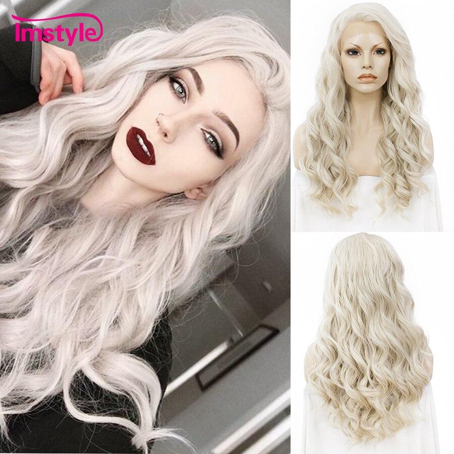 Imstyle Ash Blonde dentelle avant perruques pour femmes cheveux synthétiques perruque longue ondulée Cosplay perruques résistant à la chaleur fibre sans colle 24 pouces