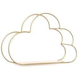 Ijzer Goud Magazijnstellingen Opknoping Decor Opbergdoos Bloempot Cloud Vorm Opbergrek Muur Boek Beeldjes Display Ambachten Planken Opslagplanken & Rekken    -
