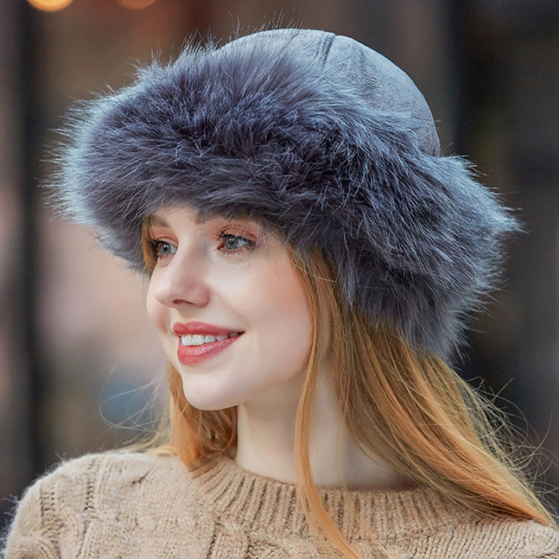 HT2849 Thick Warm Russian Hat Ladies Suede Bomber Hat Windproof Women Fur Hat Female Mongolia Cap Women Fox Fur Skullies Beanies