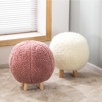 Creative solid wooden stool ottomans Nordic spherical stool removable washable furniture fabric fashion low stool footstool