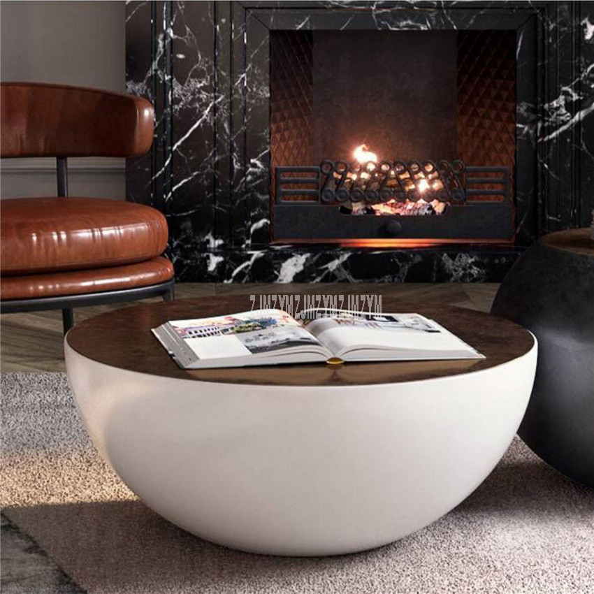 80cm Nordic Round Table Modern Bowl Design Tea Coffee Table Large Storage Space Toughened Glass Desktop Plastic Matte Process