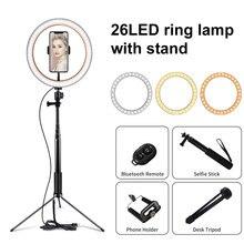 10 inç fotoğraf LED ışık Tripod halka lamba standı seti Outube Video canlı 3300 5500k fotoğraf stüdyo Selfie sopa halka ışık
