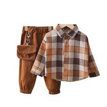 Spring Autumn Cotton Toddler 2pcs Suit Children Clothing Sets Plaid Lapel Shirt+Pants for Boys Outfit Cute Kids Coat Active Suit